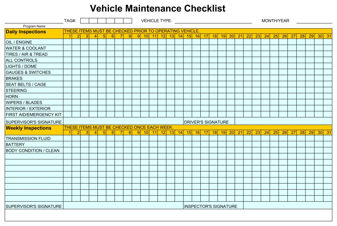 5 Images of Home Maintenance Checklist Printable