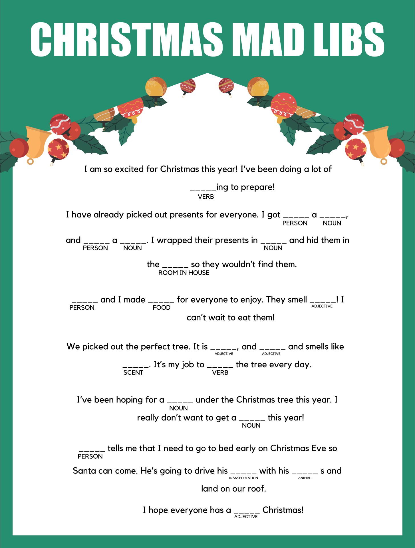 Christmas Party Mad Libs Games