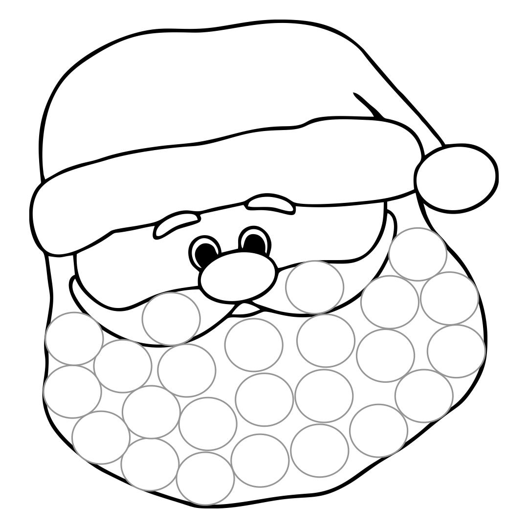 Cotton Ball Santa Beard Template