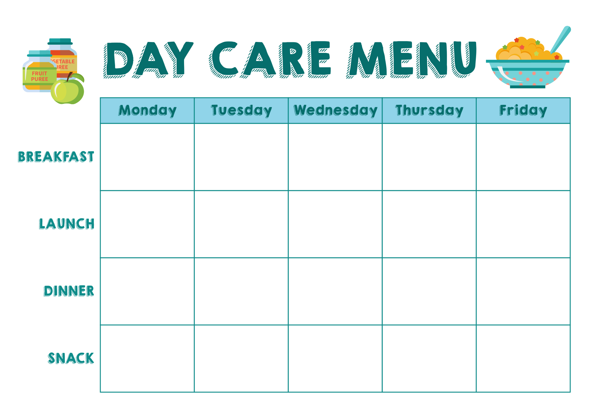 7 best images of free printable blank menu for day care for Blank daycare menu template