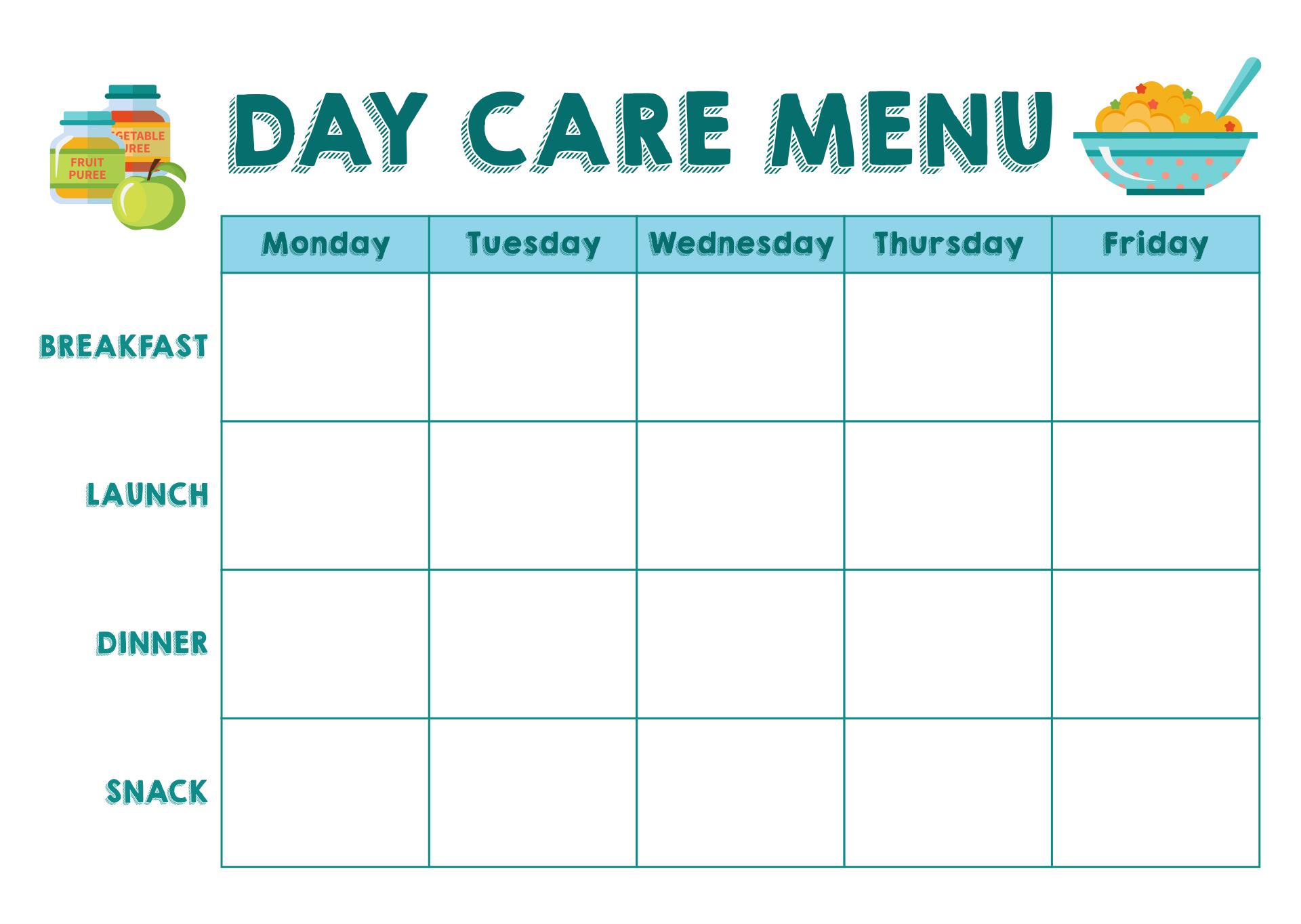 Day Care Blank Menu Template