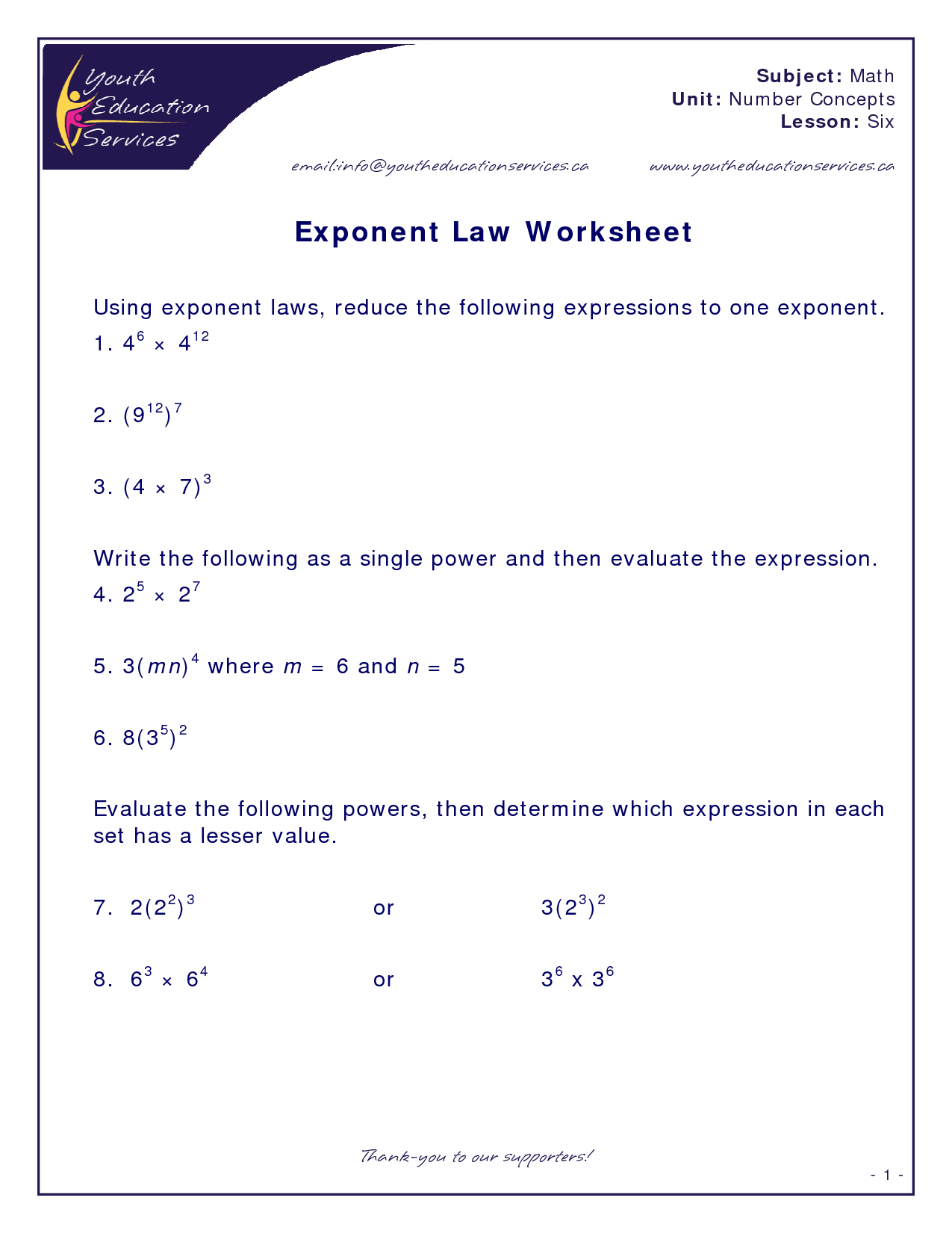 best images of printable exponent rules