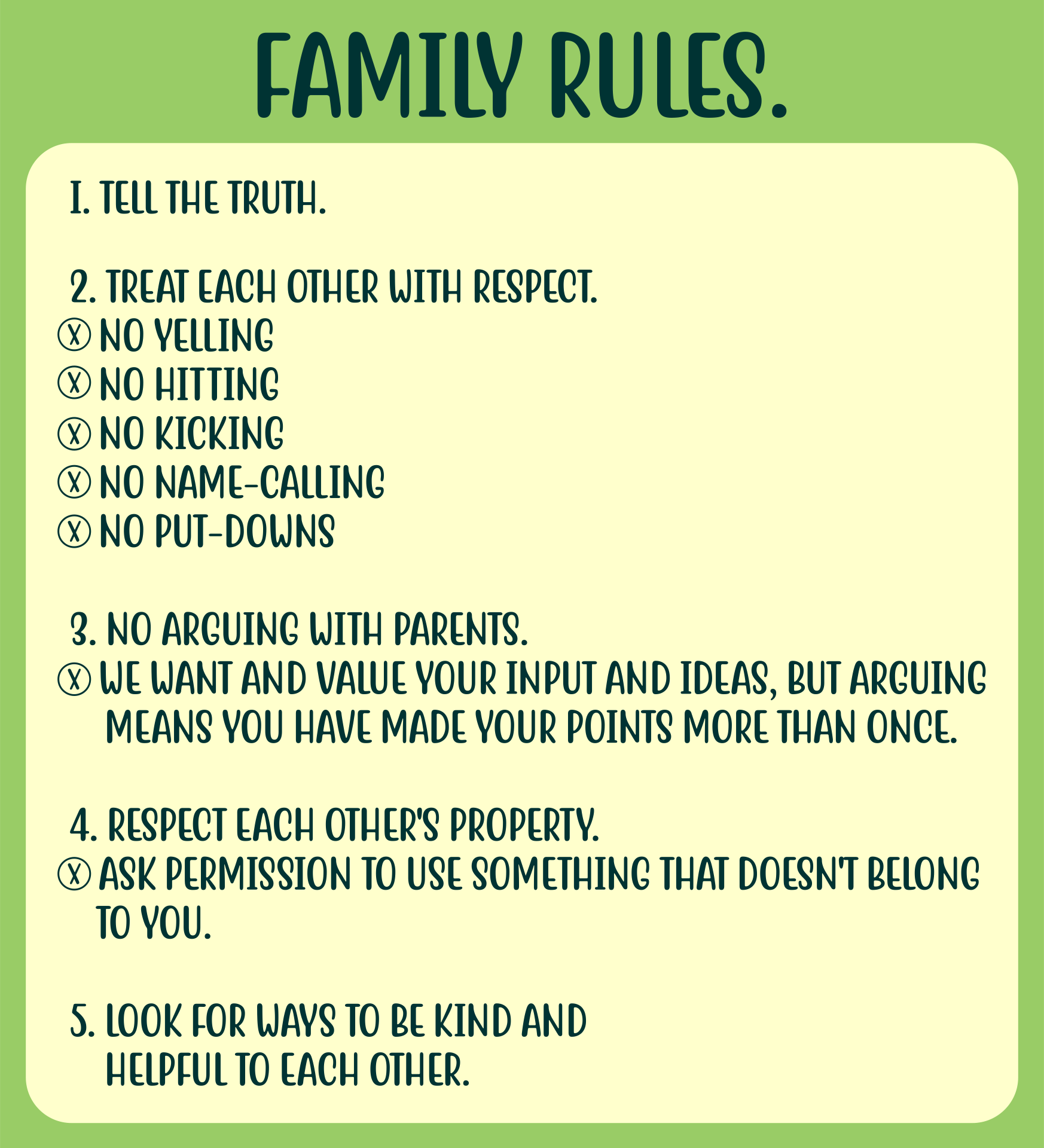 house rules chart template 9 best images of printable household rules free