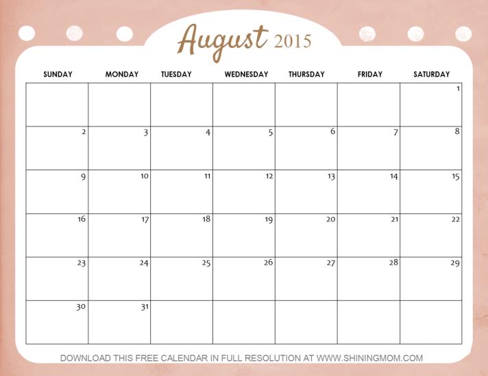 Free Calendar August 2015