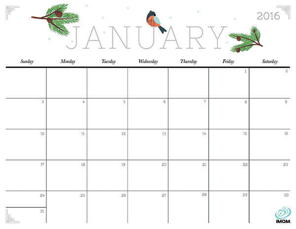 Free Cute Printable January Calendar 2016