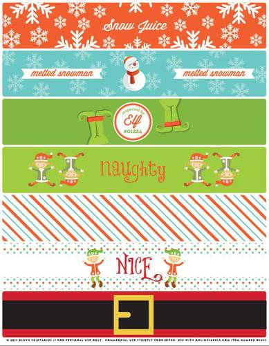4 Images of Free Printable Christmas Bottle Labels