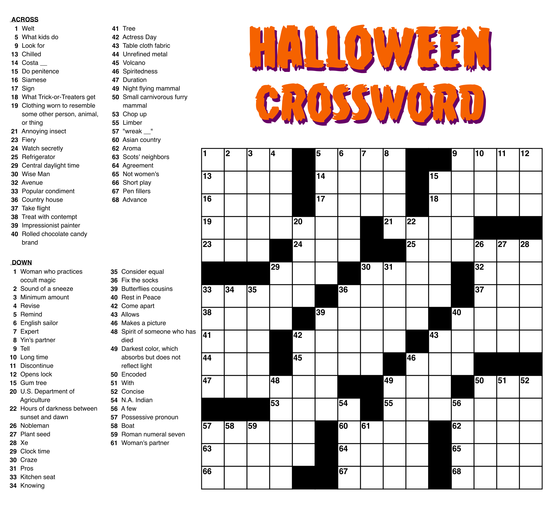 6 Best Large Print Easy Crossword Puzzles Printable ...
