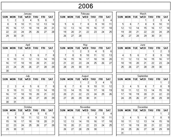 4 Images of 2006 Calendar Printable