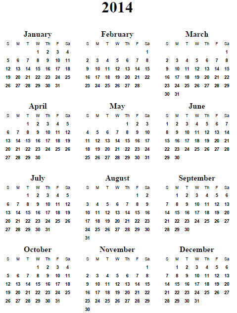 5 Images of Calendar 2014 Only Printable Yearly