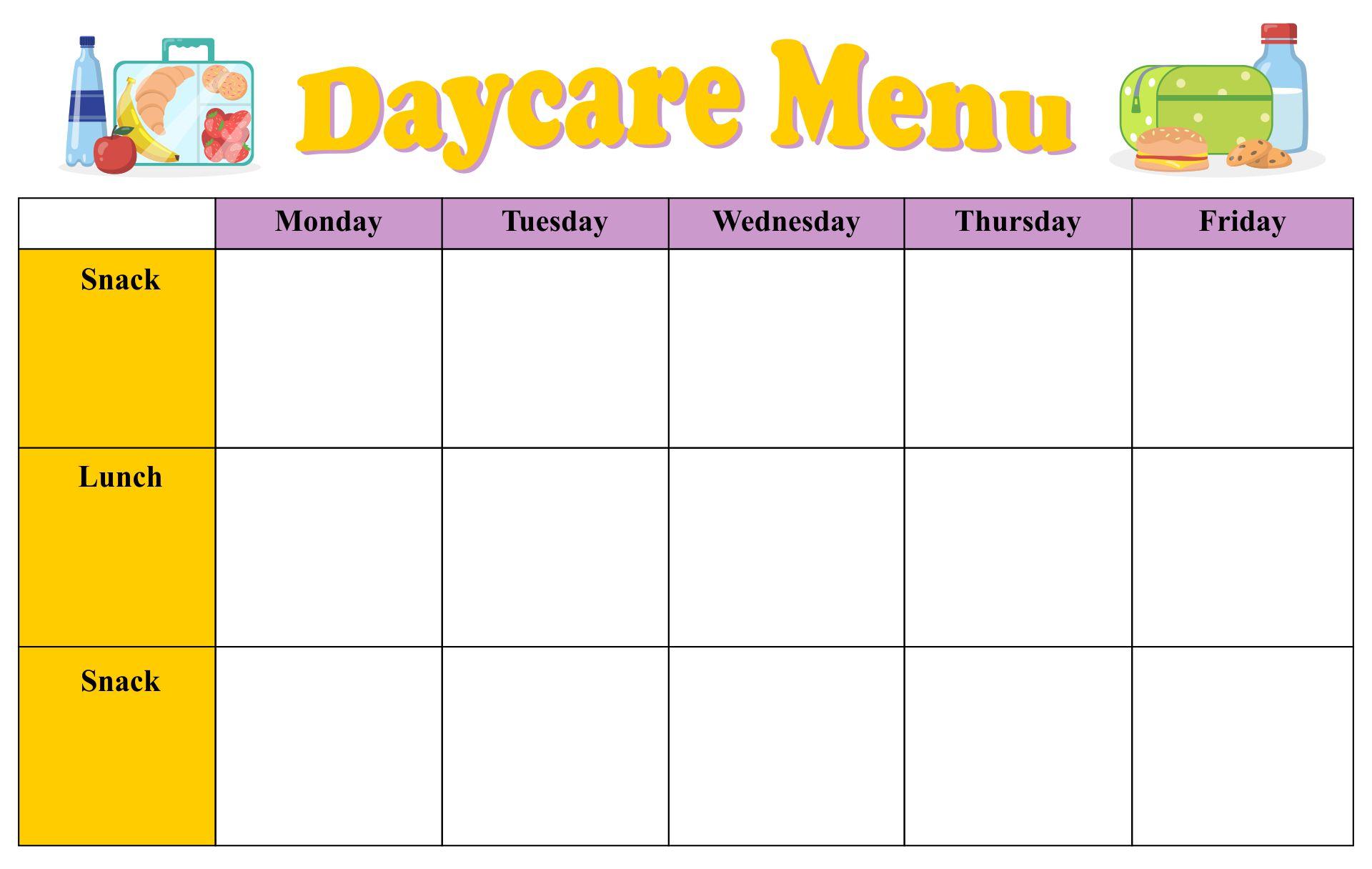 Printable Blank Day Care Menus