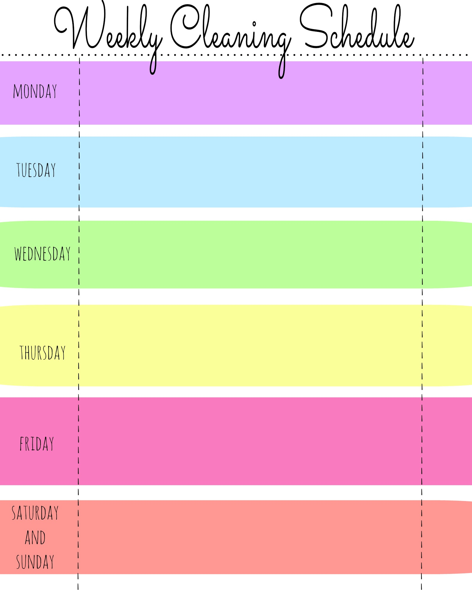 5 Images of Blank Printable Weekly Cleaning Schedule