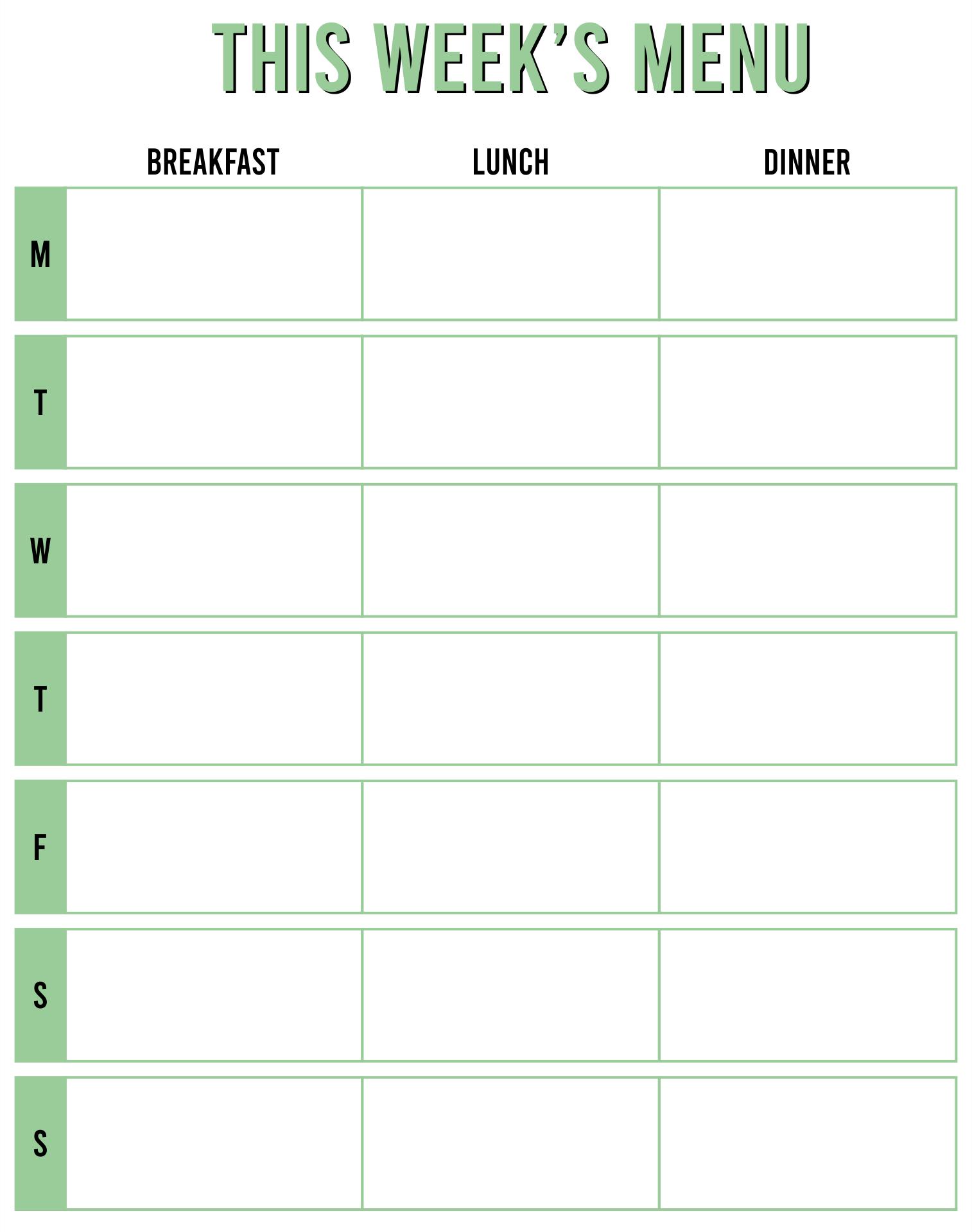 Printable Blank Weekly Menu Templates