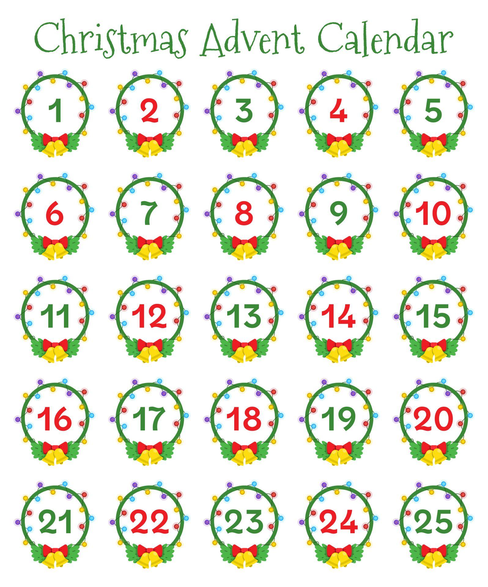Printable Christmas Calendar Numbers