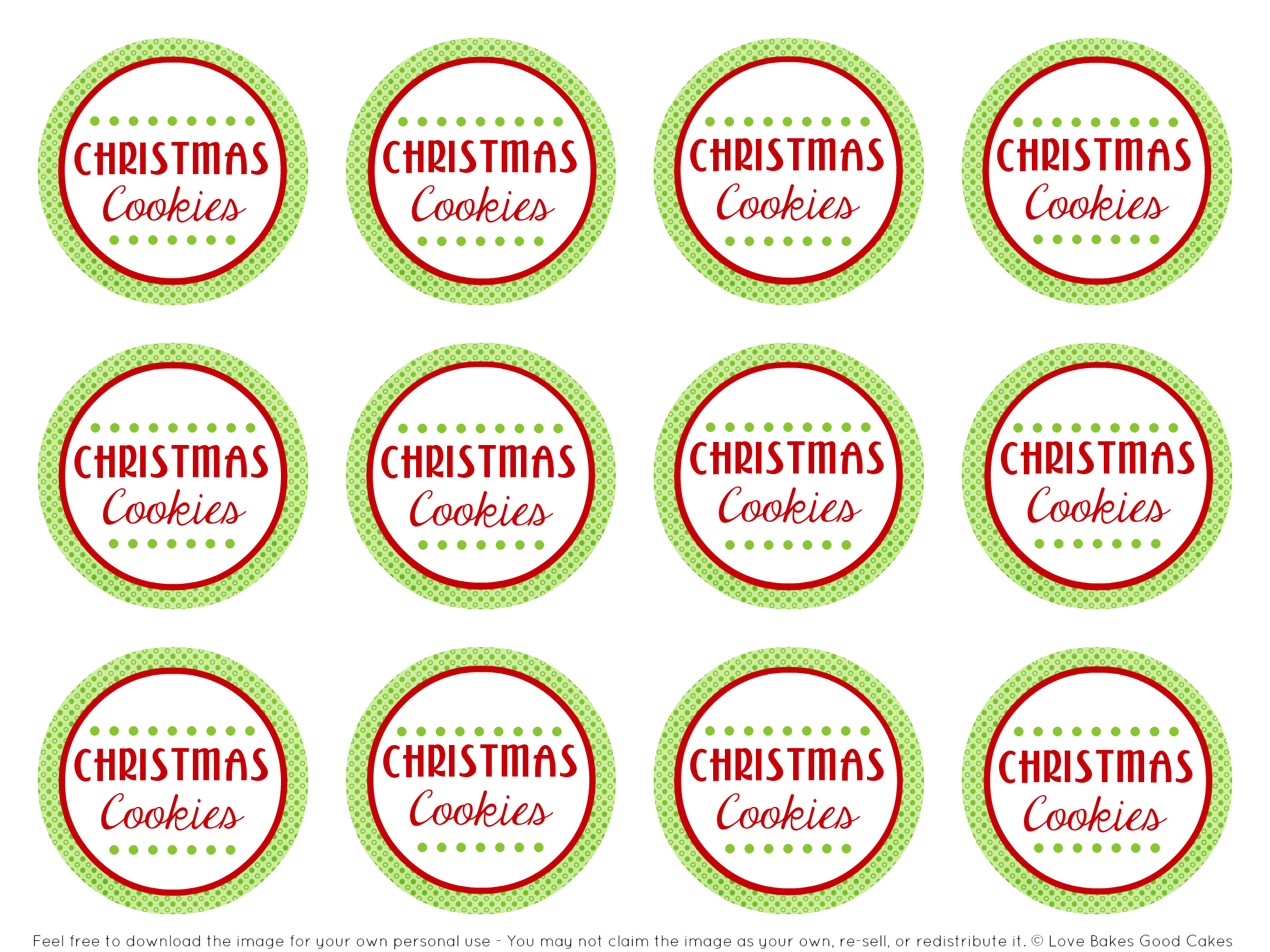 5 Images of Printable Cookie Tags
