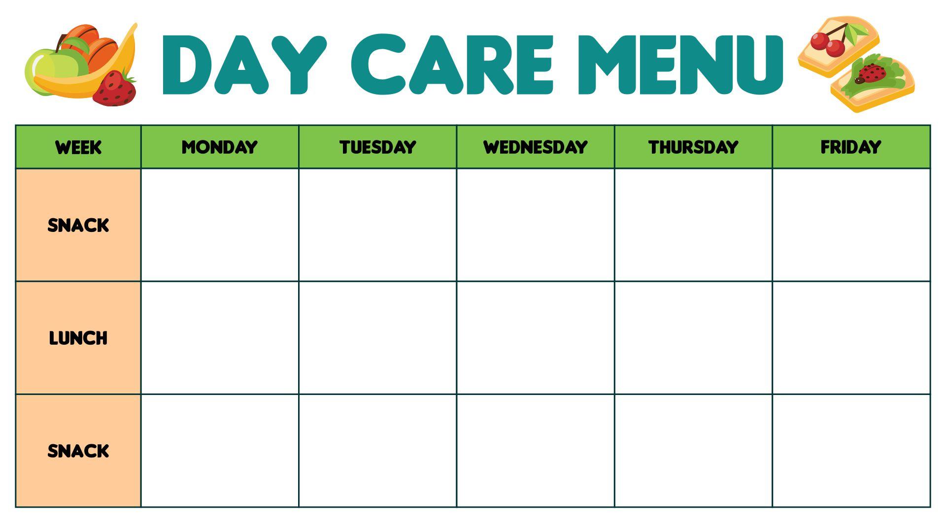 Printable Day Care Menu Templates