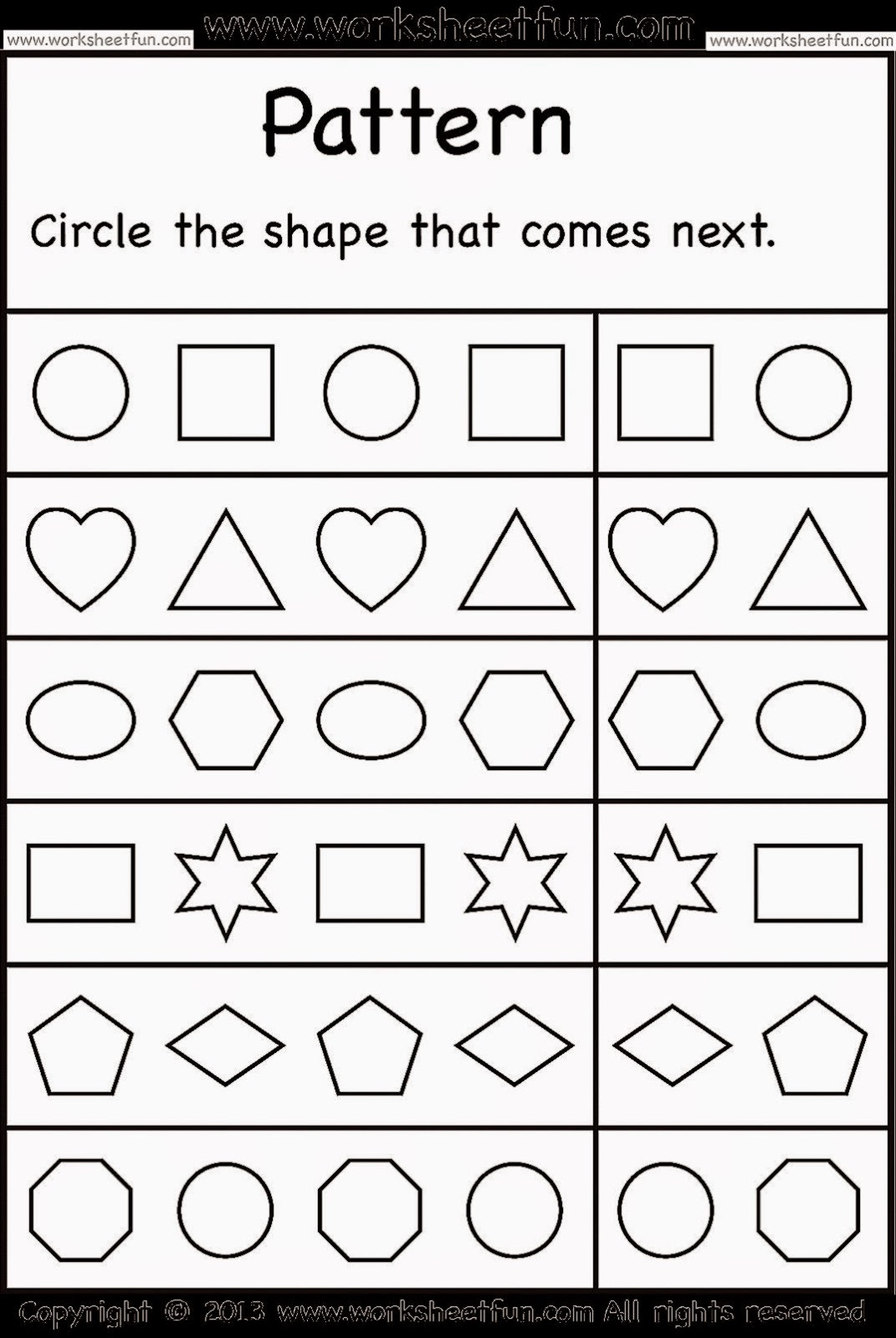 Printables Worksheets Free free downloadable worksheets scalien 8 best images of patterns printable preschool worksheets