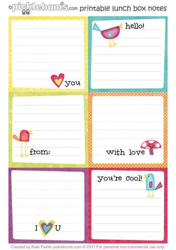 6 Images of Free Printable Lunch Notes Cute