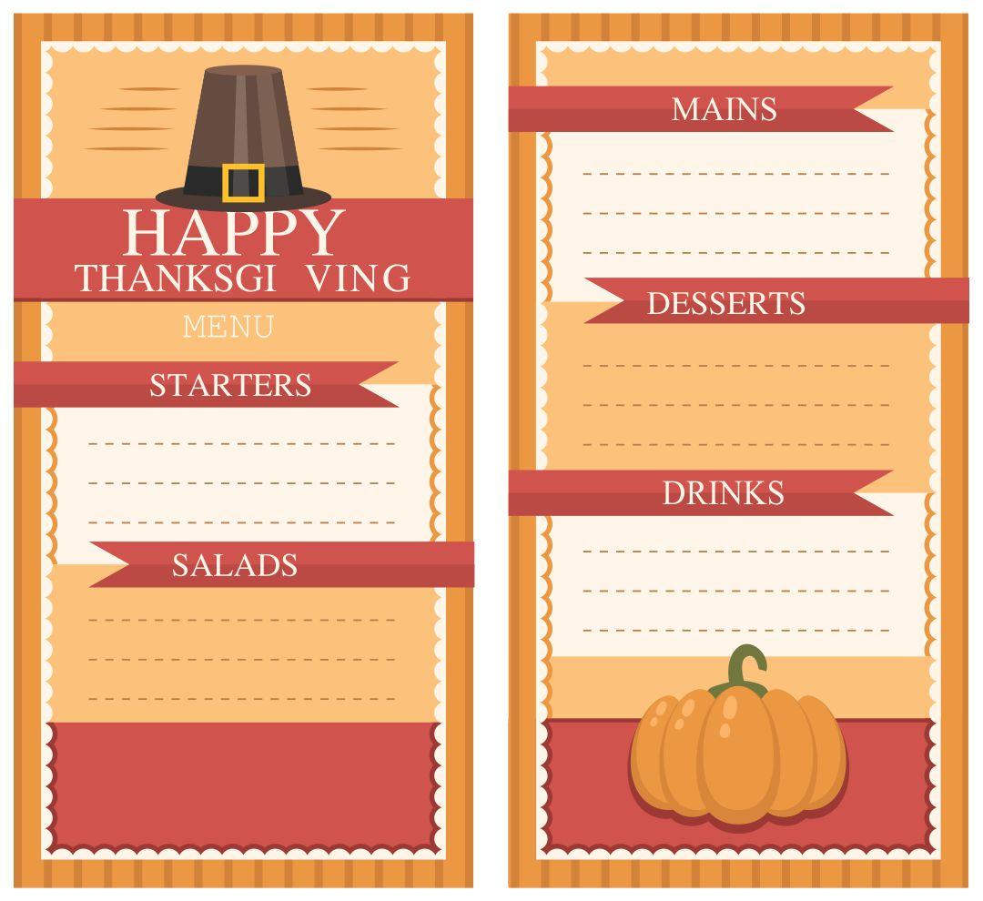 Printable Thanksgiving Menu Templates