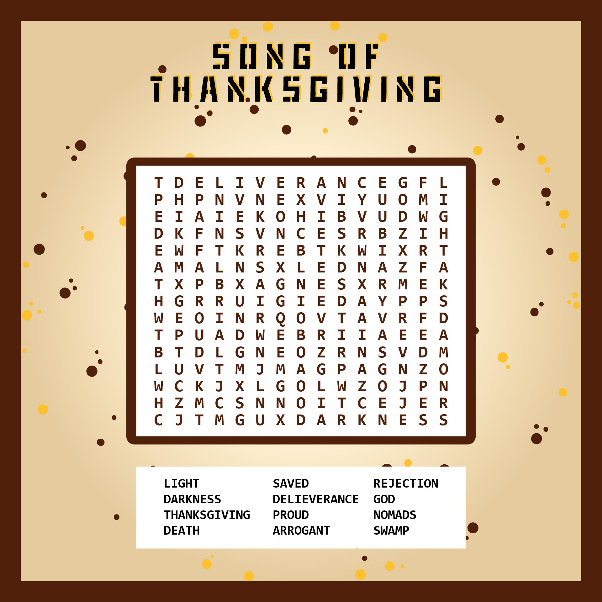 Printable Thanksgiving Word Search Puzzles