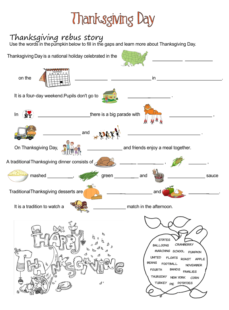 Printable Thanksgiving Worksheets Kindergarten