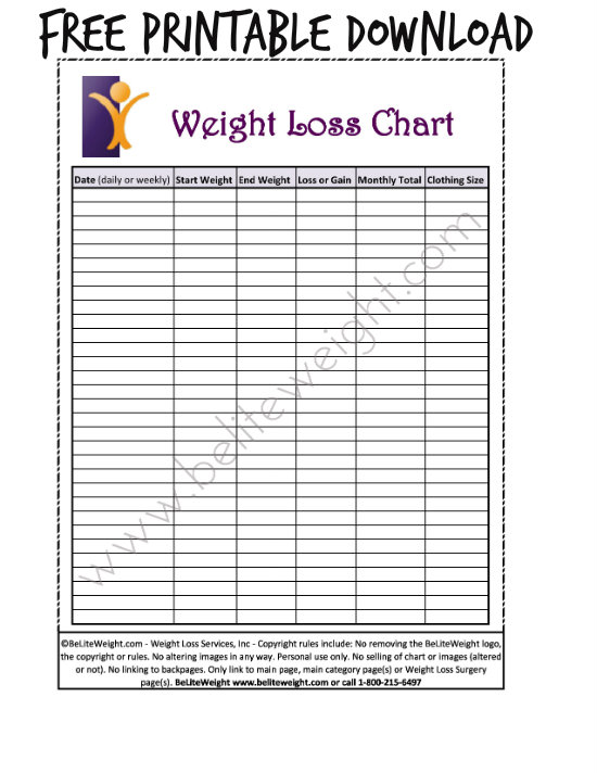 Weekly Weight Loss Calendar : Best images of printable daily weight loss chart