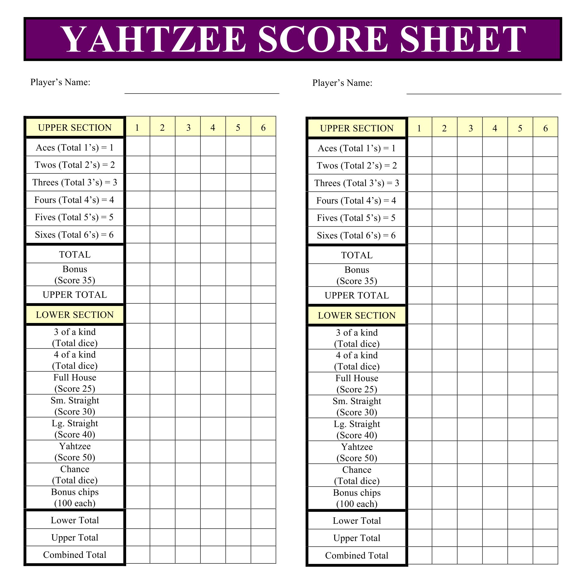 Printable Yahtzee Score Sheets