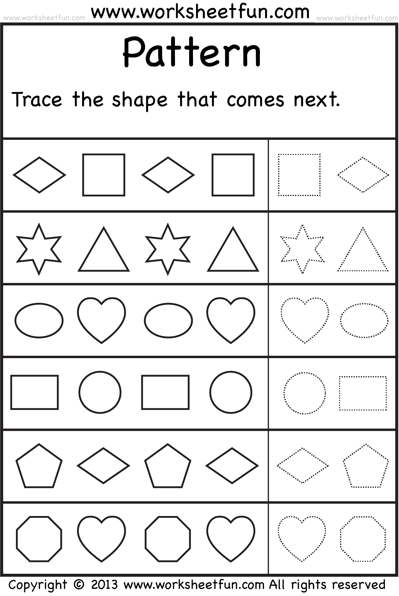 Worksheet Preschool Patterns Worksheets 8 best images of patterns free printable preschool worksheets shape pattern worksheets