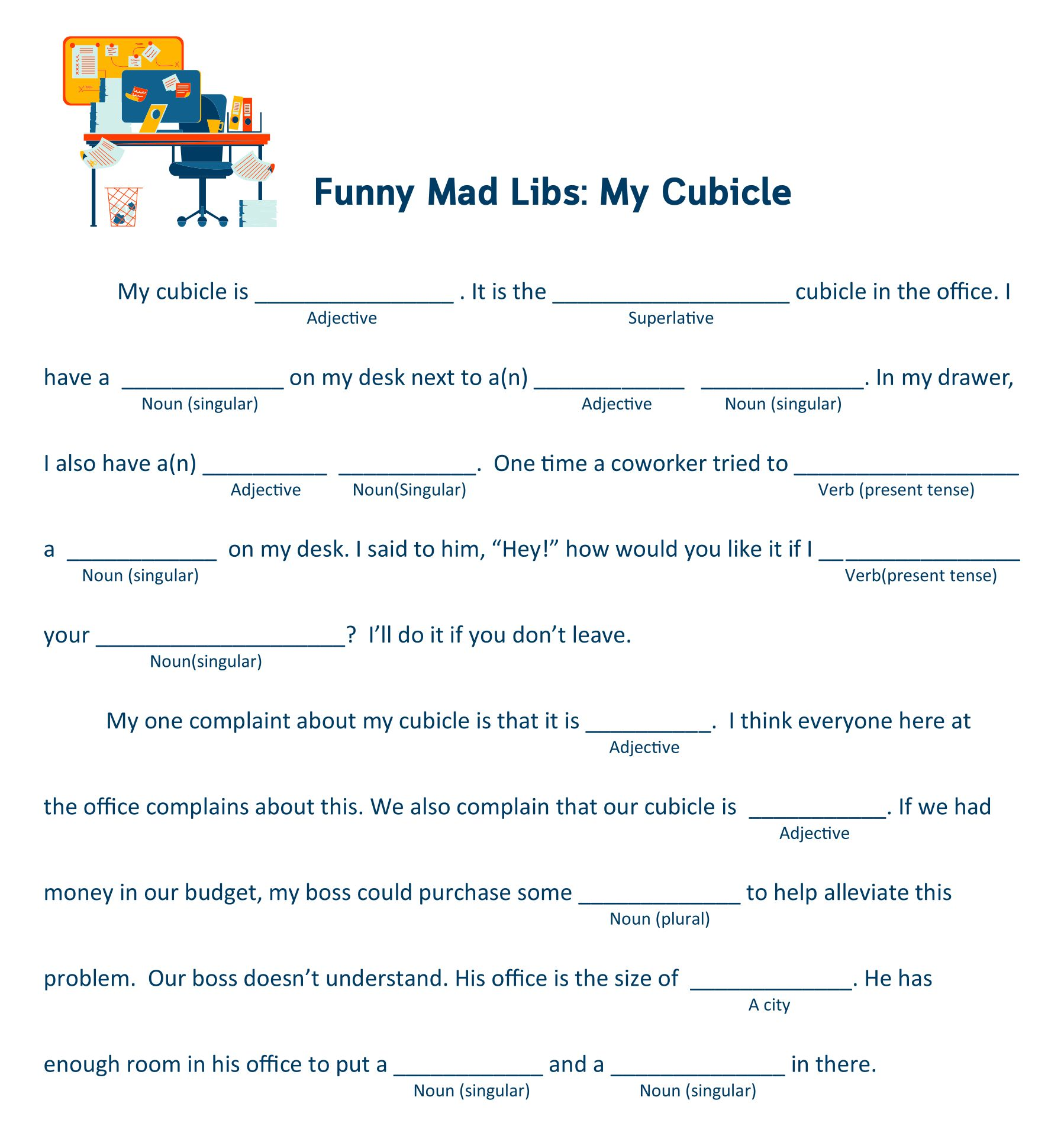 Nifty image with regard to office mad libs printable