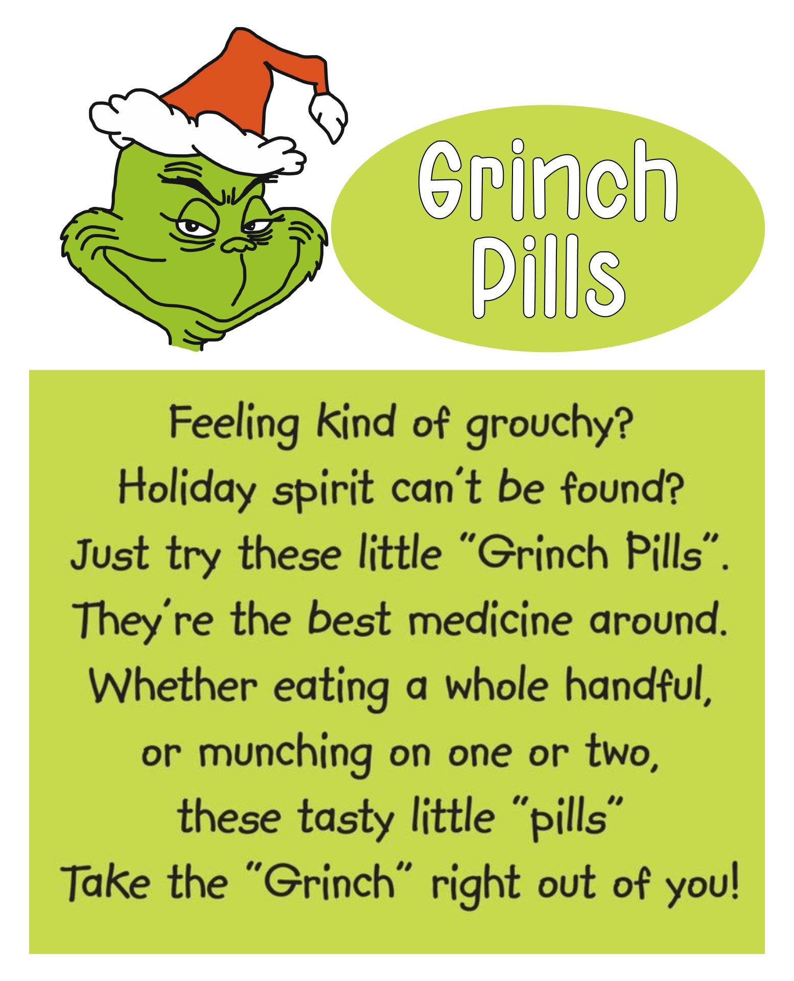 Grinch Pills Poem Printable