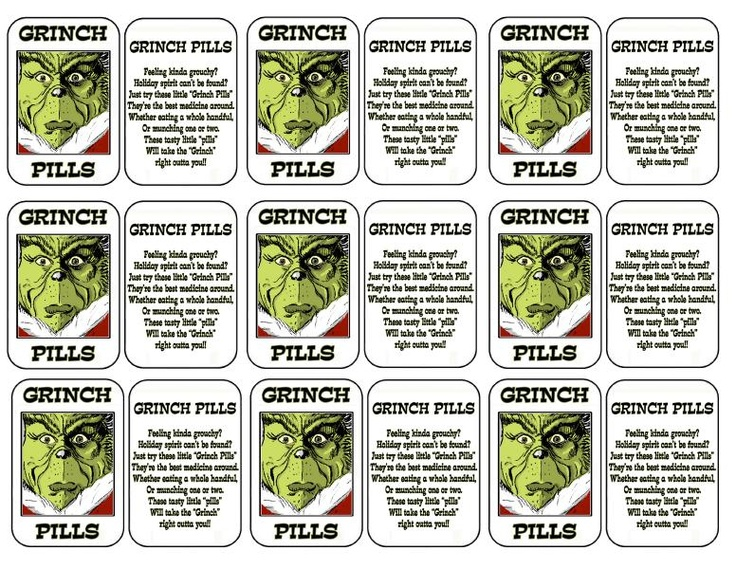 5 Images of Grinch Pills Printable Pattern