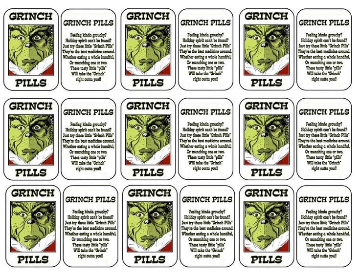 Grinch Pills Printable
