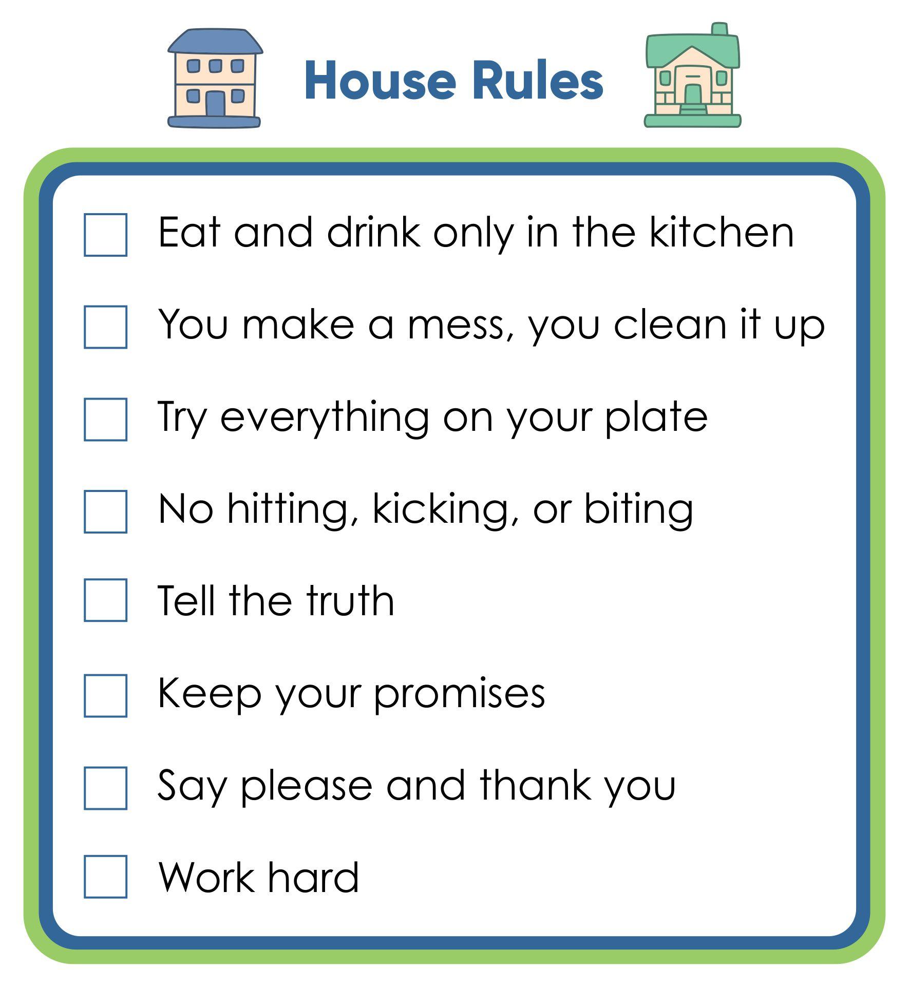 Kids House Rules Printable