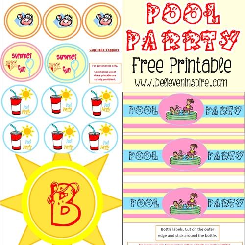 Kids Pool Party Free Printables