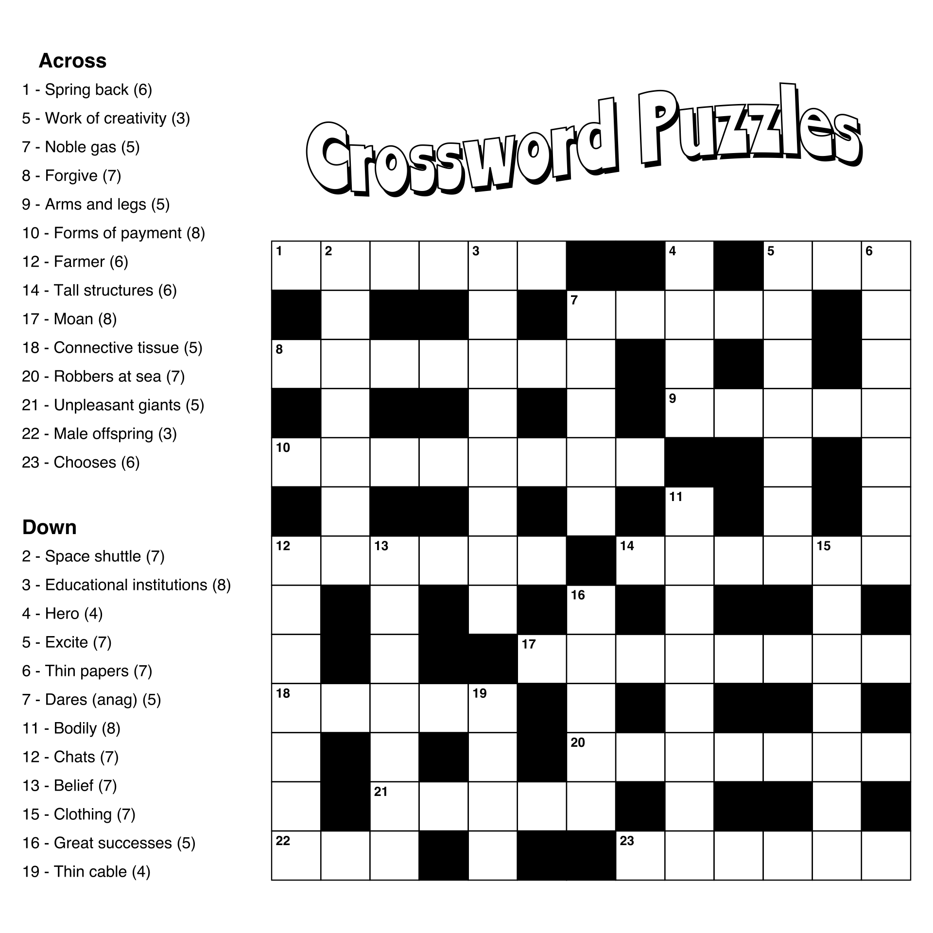 Large Print Easy Crossword Puzzles Printable - Large Print Crossword ...