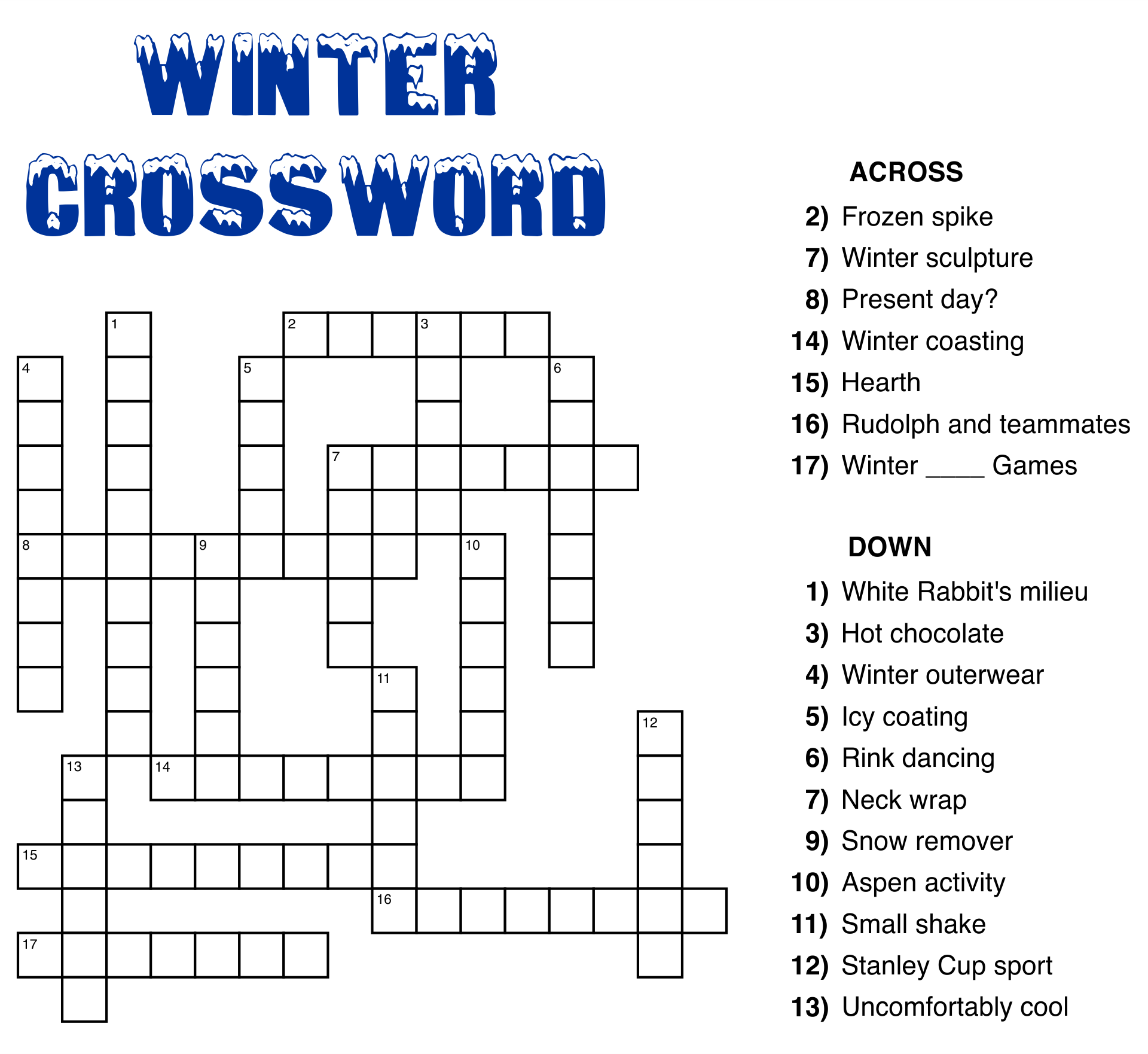 Large Printable Easy Crossword Puzzle
