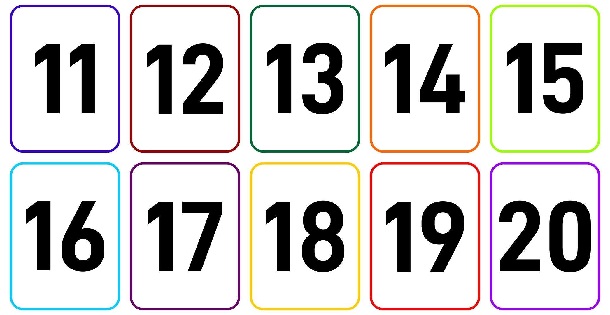 Large Printable Number Flash Cards