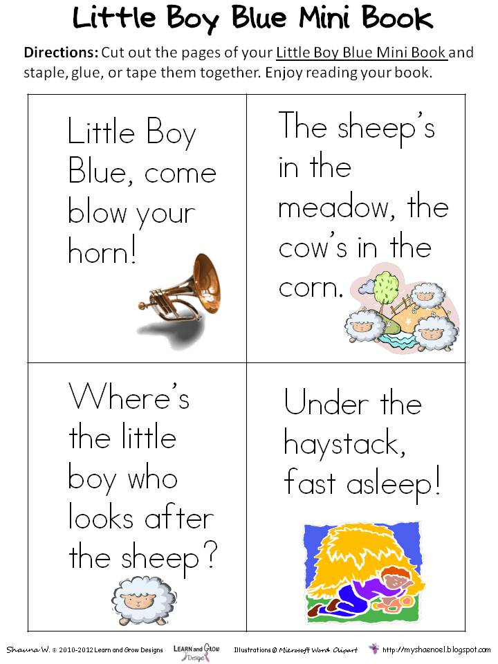 Little Boy Blue Nursery Rhyme Printable