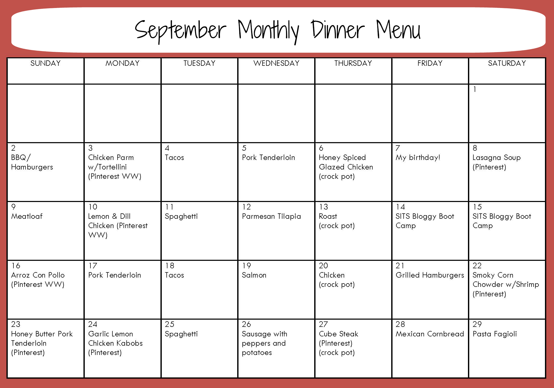 8 best images of sample monthly menu planner printable for Monthly dinner menu template