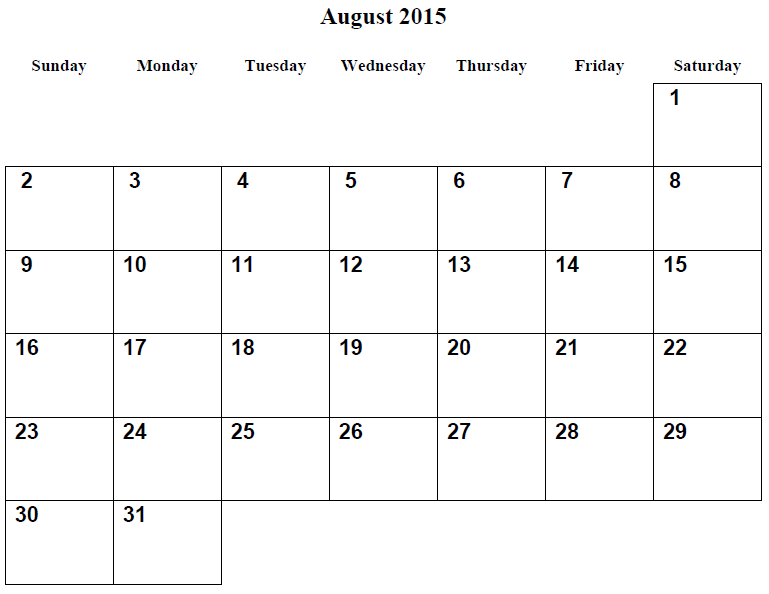 Monthly Printable Calendar August 2015