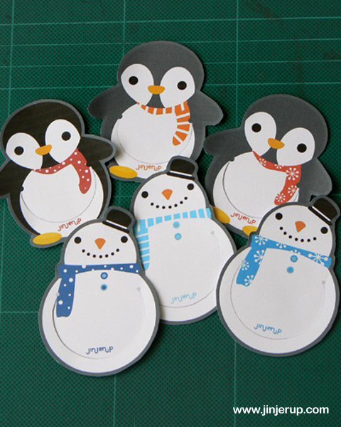 4 Images of Snowmen Bookmarks Printable