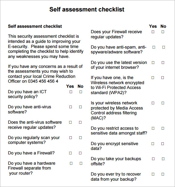 7 best images of security checklist printable security for Physical security survey template