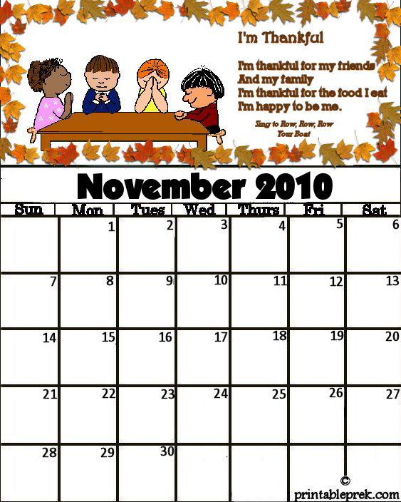 Printable Monthly Calendar Kindergarten : Best images of preschool calendar printable november