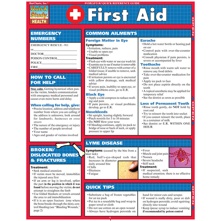 Sweet image for printable first aid guide