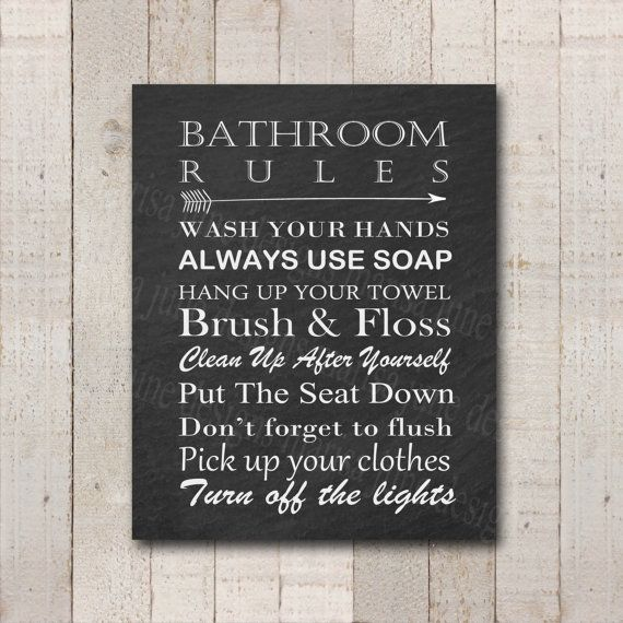 Printable Bathroom Rules Sign