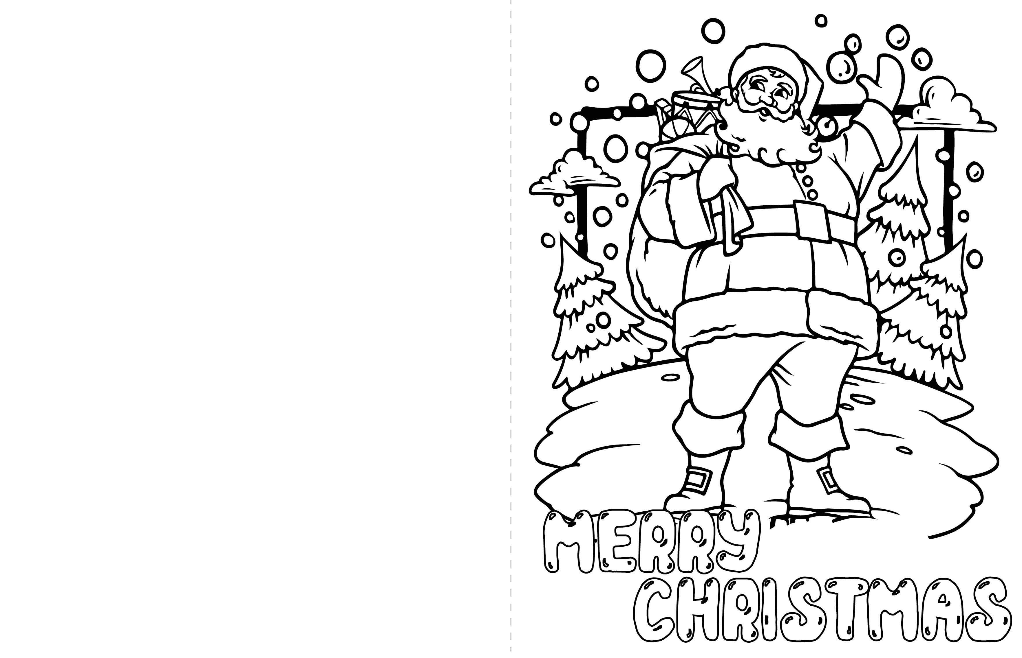 Printable Christmas Coloring Cards Kids