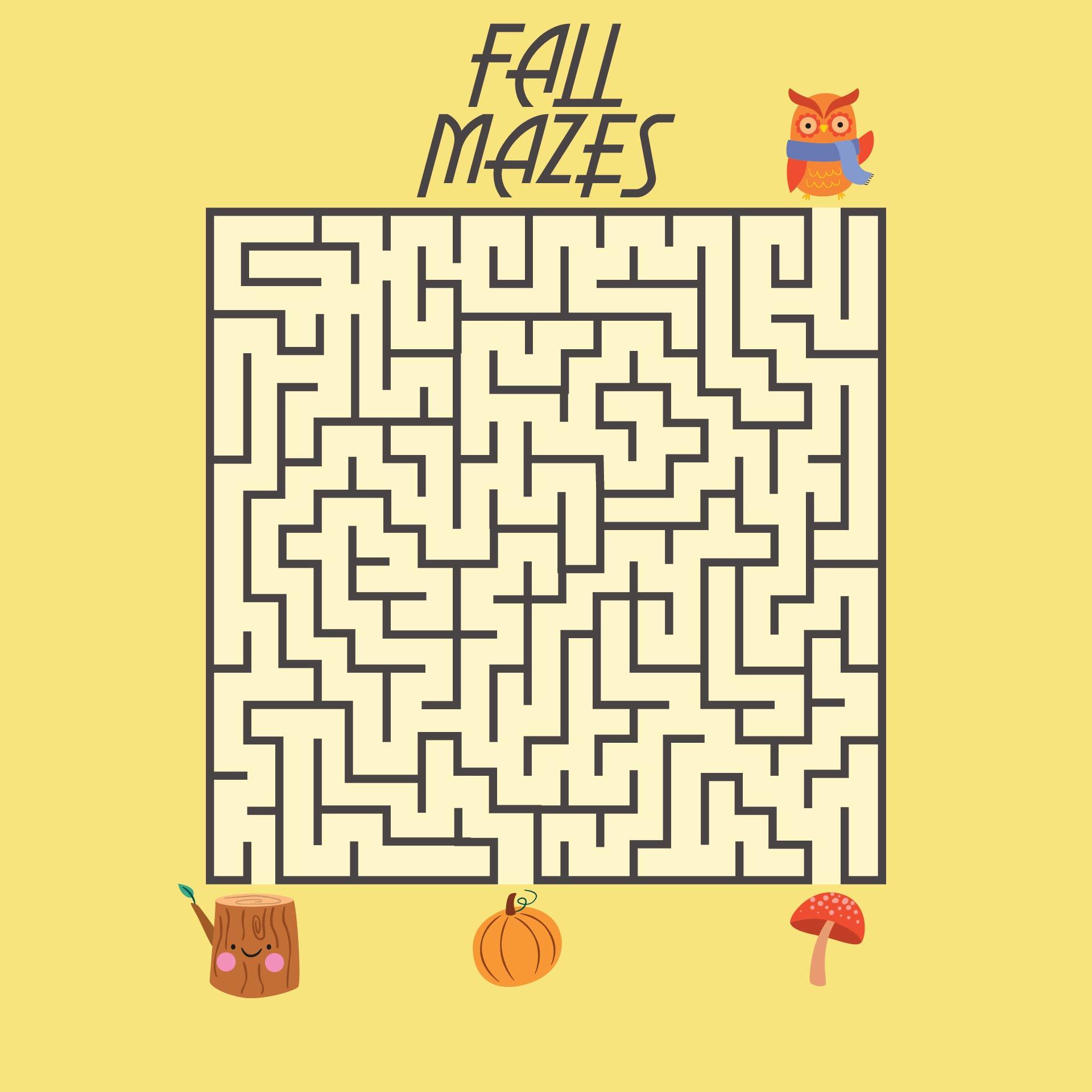 5 Images of Autumn Leaf Maze Printable