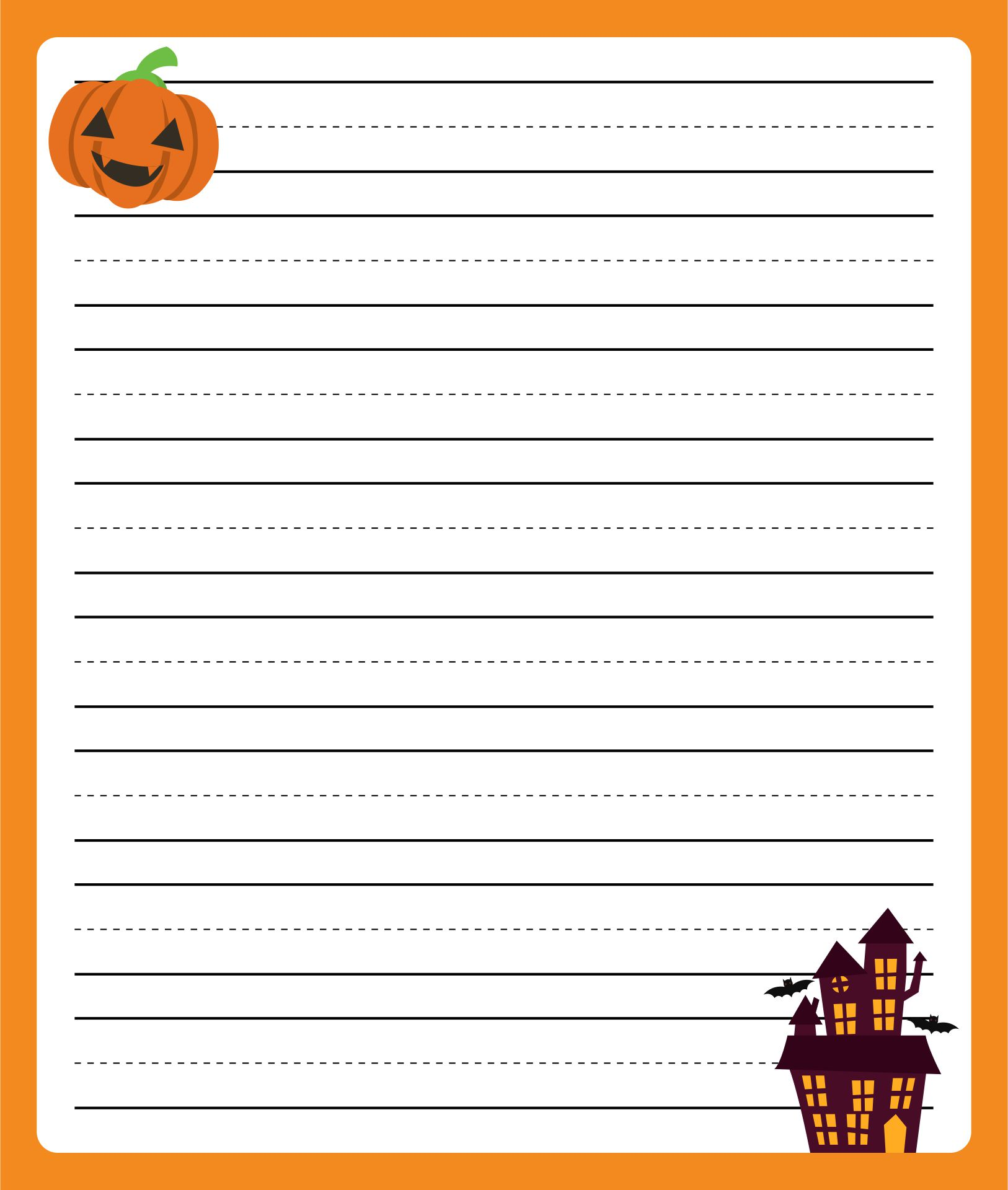 Printable Halloween Writing Paper Primary