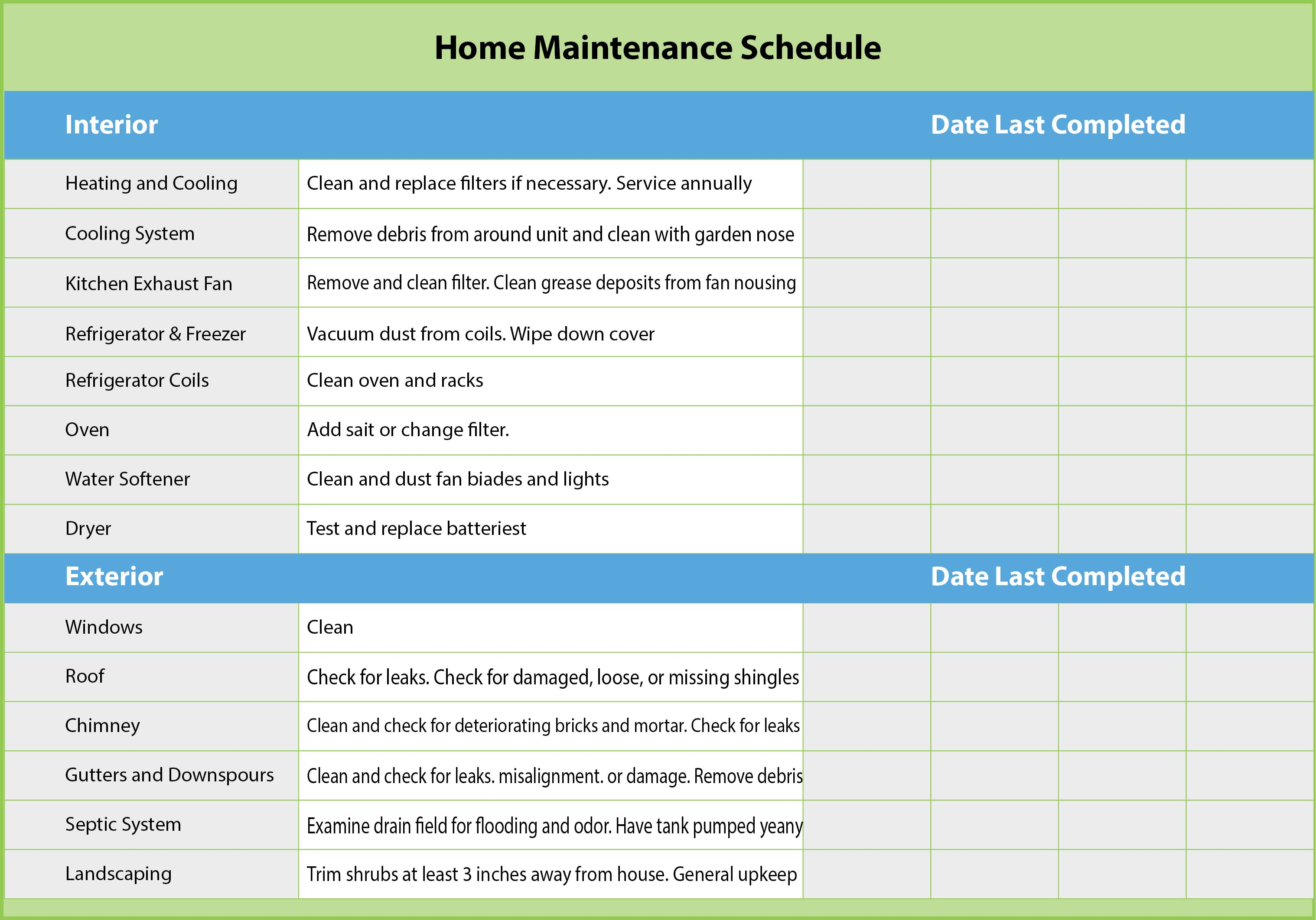 Printable Home Maintenance Schedule
