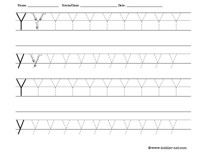 Printable Letter Y Tracing Worksheets