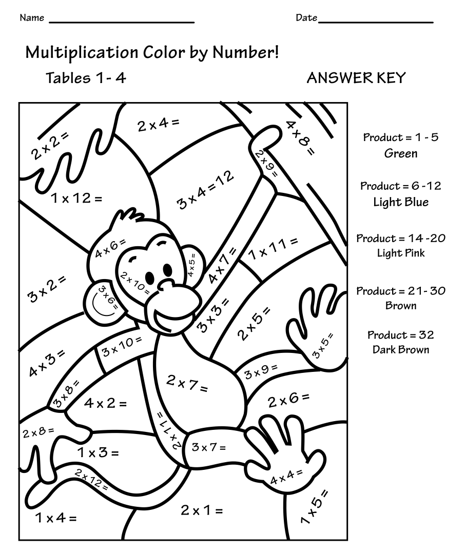 Free Printable Color By Number Math Worksheets – Math Color by Number Worksheets Free